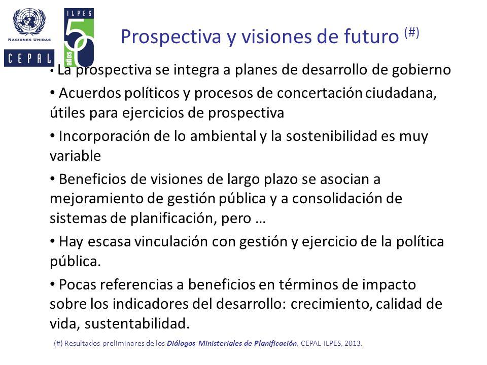 Prospectiva y visiones de futuro (#) La prospectiva se integra a planes de desarrollo de gobierno Acuerdos políticos y procesos de concertación ciudad