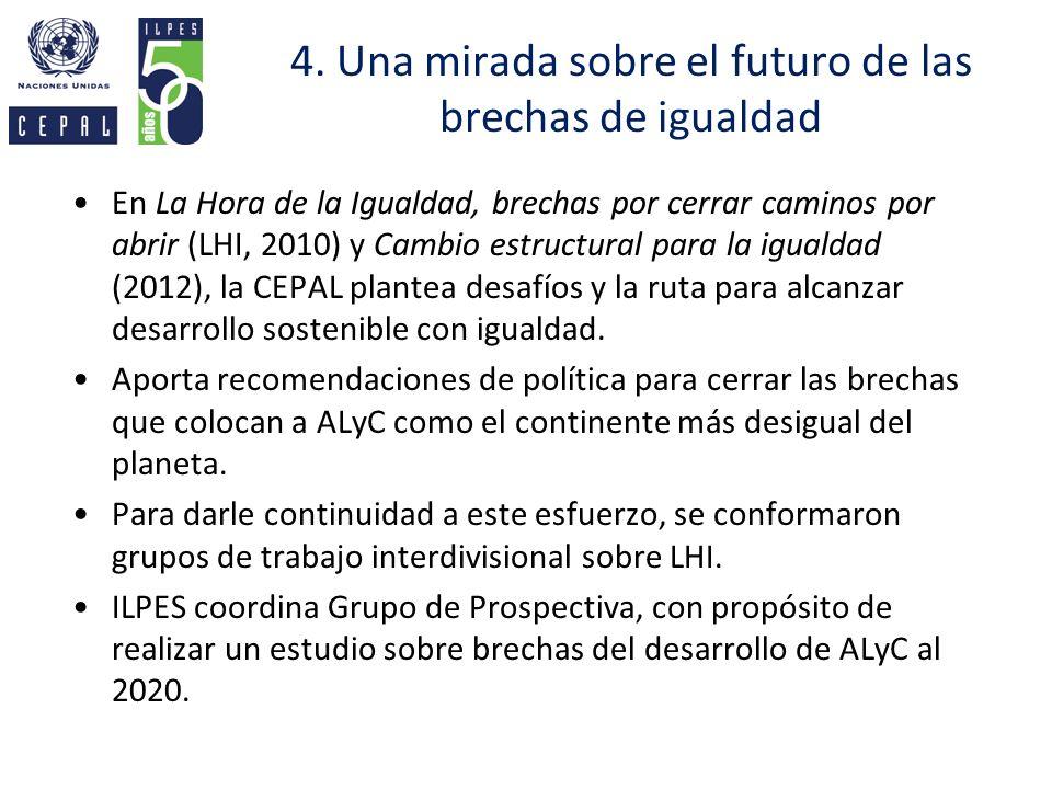 4. Una mirada sobre el futuro de las brechas de igualdad En La Hora de la Igualdad, brechas por cerrar caminos por abrir (LHI, 2010) y Cambio estructu