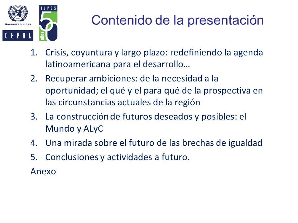 Contenido de la presentación 1.Crisis, coyuntura y largo plazo: redefiniendo la agenda latinoamericana para el desarrollo… 2.Recuperar ambiciones: de
