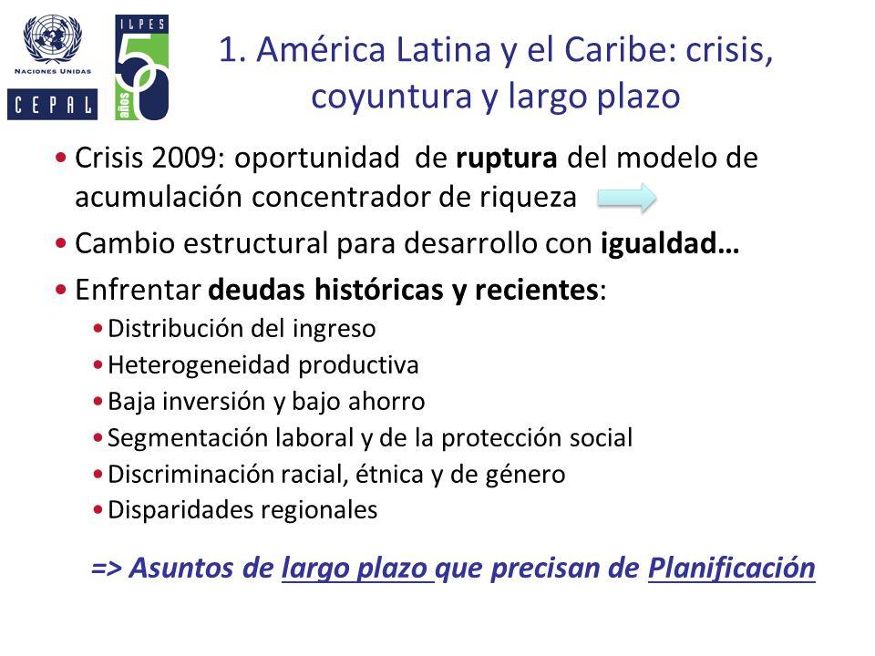 1. América Latina y el Caribe: crisis, coyuntura y largo plazo Crisis 2009: oportunidad de ruptura del modelo de acumulación concentrador de riqueza C