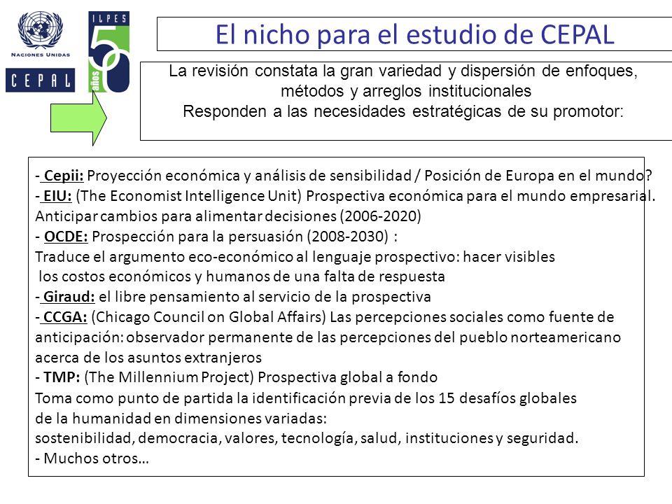 El nicho para el estudio de CEPAL - Cepii: Proyección económica y análisis de sensibilidad / Posición de Europa en el mundo? - EIU: (The Economist Int