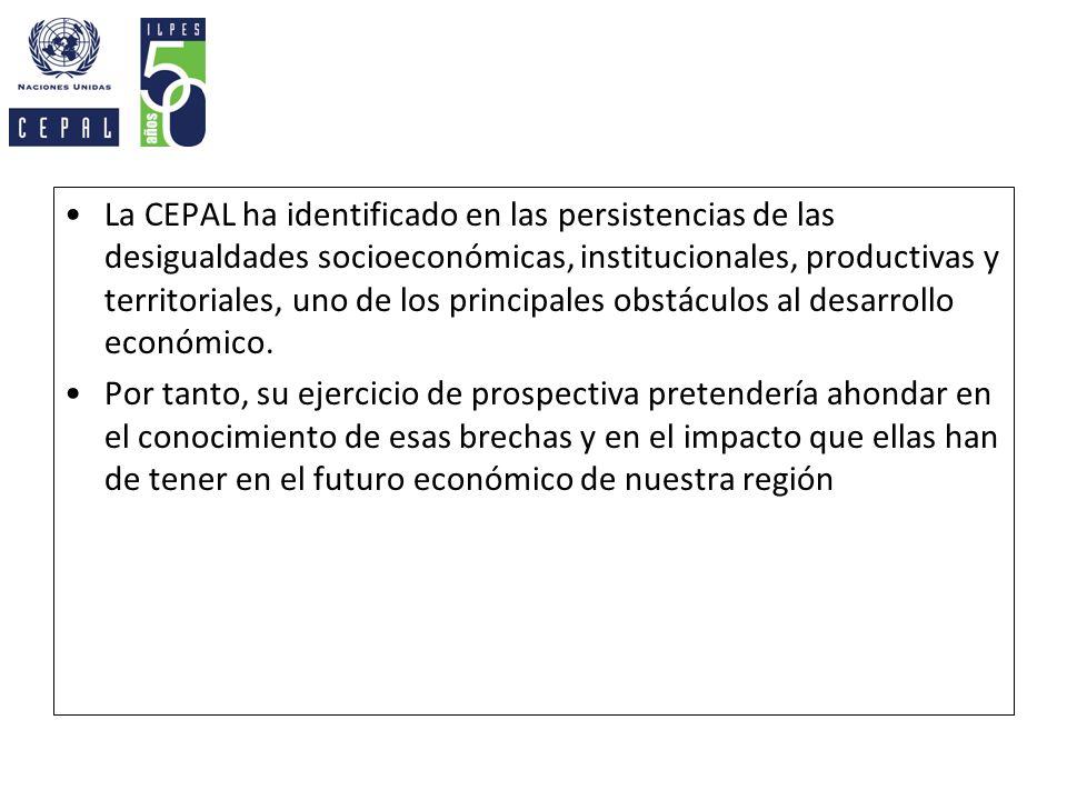 La CEPAL ha identificado en las persistencias de las desigualdades socioeconómicas, institucionales, productivas y territoriales, uno de los principal