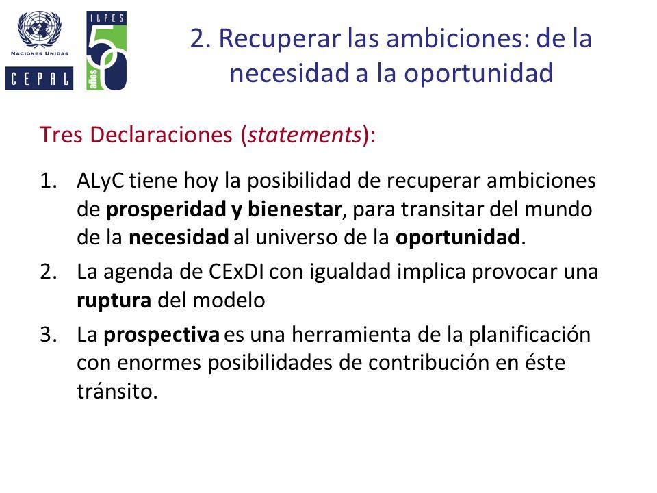 2. Recuperar las ambiciones: de la necesidad a la oportunidad Tres Declaraciones (statements): 1.ALyC tiene hoy la posibilidad de recuperar ambiciones