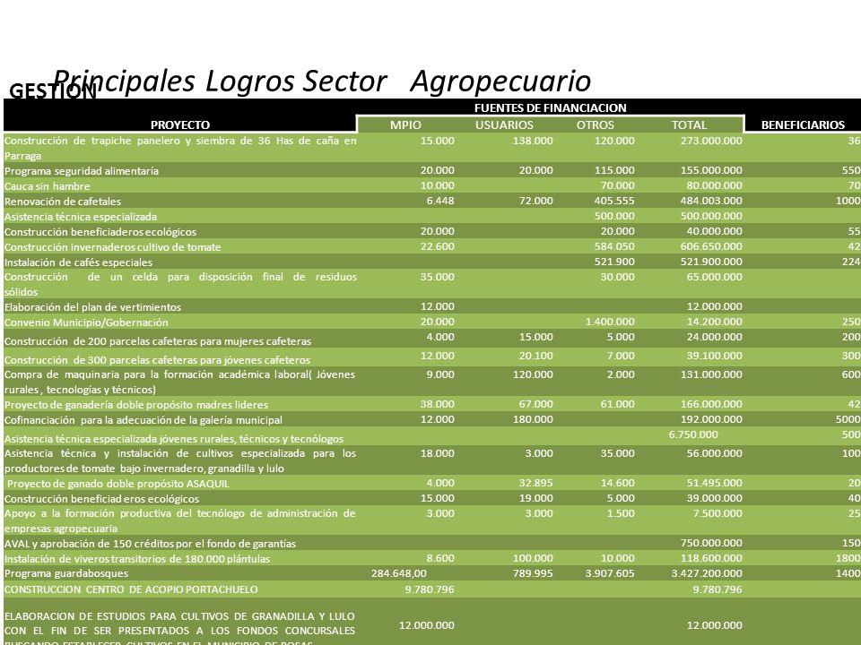 GESTION PROYECTO FUENTES DE FINANCIACION BENEFICIARIOS MPIOUSUARIOSOTROSTOTAL Construcción de trapiche panelero y siembra de 36 Has de caña en Parraga