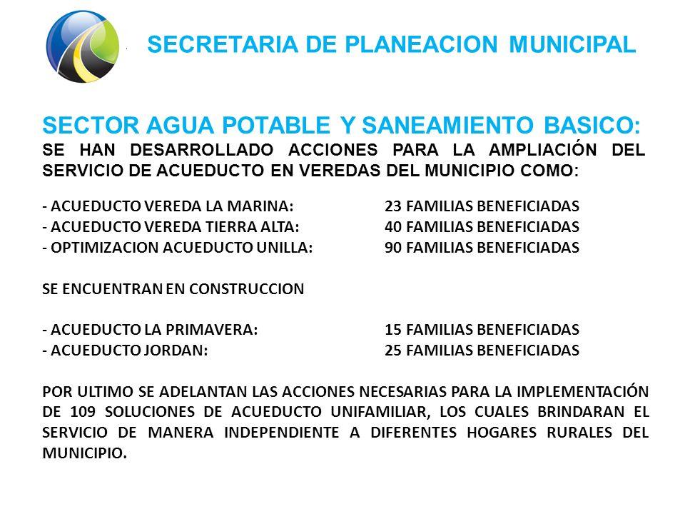 SECRETARIA DE PLANEACION MUNICIPAL SECTOR AGUA POTABLE Y SANEAMIENTO BASICO: SE HAN DESARROLLADO ACCIONES PARA LA AMPLIACIÓN DEL SERVICIO DE ACUEDUCTO EN VEREDAS DEL MUNICIPIO COMO: - ACUEDUCTO VEREDA LA MARINA: 23 FAMILIAS BENEFICIADAS - ACUEDUCTO VEREDA TIERRA ALTA:40 FAMILIAS BENEFICIADAS - OPTIMIZACION ACUEDUCTO UNILLA:90 FAMILIAS BENEFICIADAS SE ENCUENTRAN EN CONSTRUCCION - ACUEDUCTO LA PRIMAVERA:15 FAMILIAS BENEFICIADAS - ACUEDUCTO JORDAN:25 FAMILIAS BENEFICIADAS POR ULTIMO SE ADELANTAN LAS ACCIONES NECESARIAS PARA LA IMPLEMENTACIÓN DE 109 SOLUCIONES DE ACUEDUCTO UNIFAMILIAR, LOS CUALES BRINDARAN EL SERVICIO DE MANERA INDEPENDIENTE A DIFERENTES HOGARES RURALES DEL MUNICIPIO.