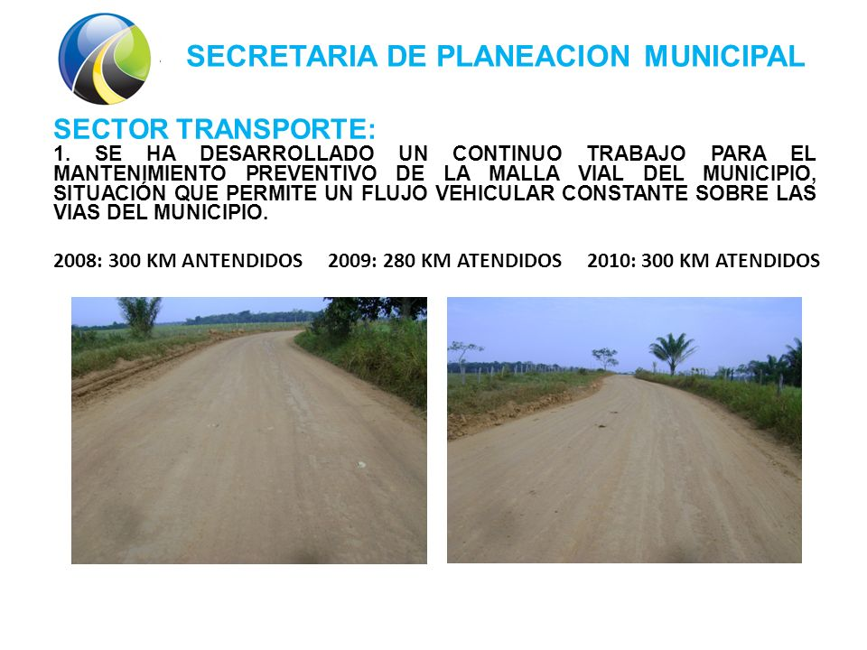 SECRETARIA DE PLANEACION MUNICIPAL SECTOR TRANSPORTE: 1.