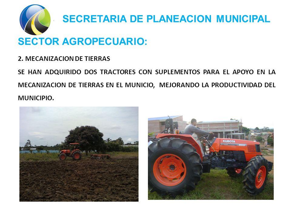 SECRETARIA DE PLANEACION MUNICIPAL SECTOR AGROPECUARIO: 2.