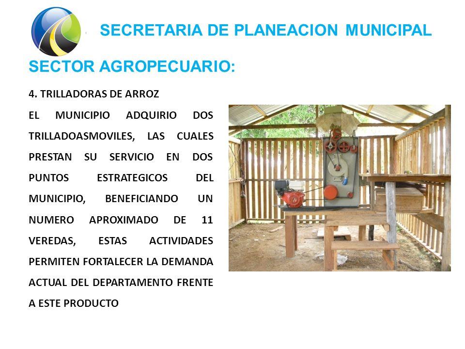 SECRETARIA DE PLANEACION MUNICIPAL SECTOR AGROPECUARIO: 4.