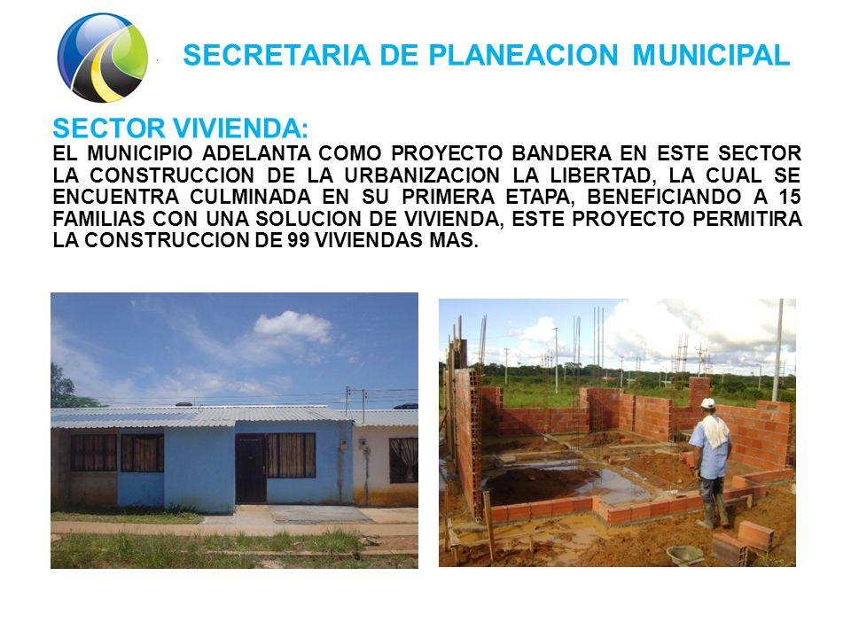 SECRETARIA DE PLANEACION MUNICIPAL SECTOR VIVIENDA: EL MUNICIPIO ADELANTA COMO PROYECTO BANDERA EN ESTE SECTOR LA CONSTRUCCION DE LA URBANIZACION LA LIBERTAD, LA CUAL SE ENCUENTRA CULMINADA EN SU PRIMERA ETAPA, BENEFICIANDO A 15 FAMILIAS CON UNA SOLUCION DE VIVIENDA, ESTE PROYECTO PERMITIRA LA CONSTRUCCION DE 99 VIVIENDAS MAS.