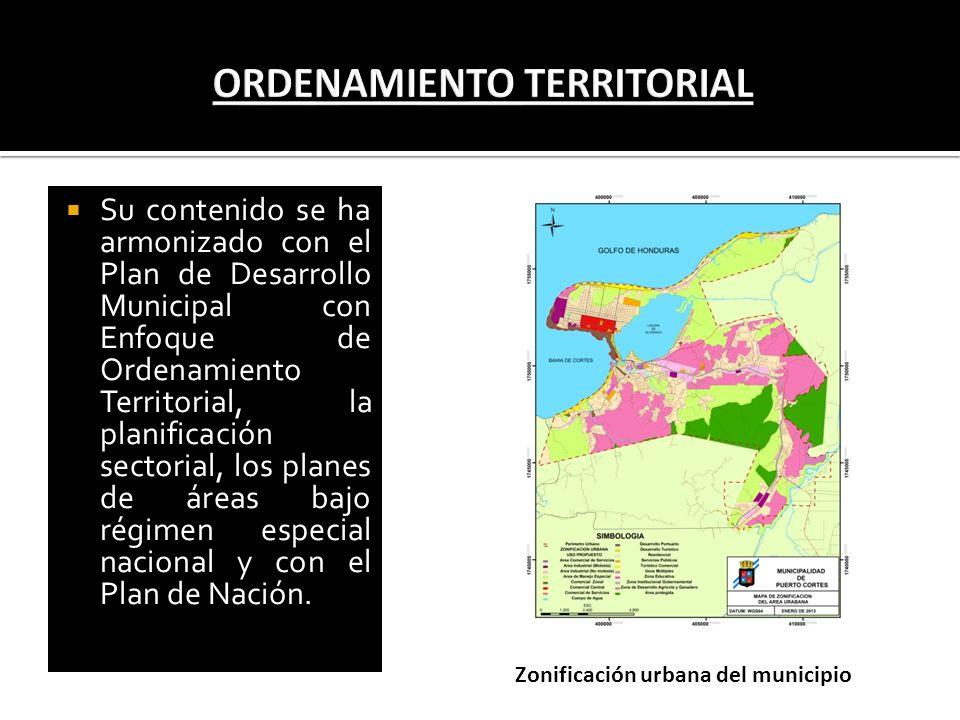 Su contenido se ha armonizado con el Plan de Desarrollo Municipal con Enfoque de Ordenamiento Territorial, la planificación sectorial, los planes de á