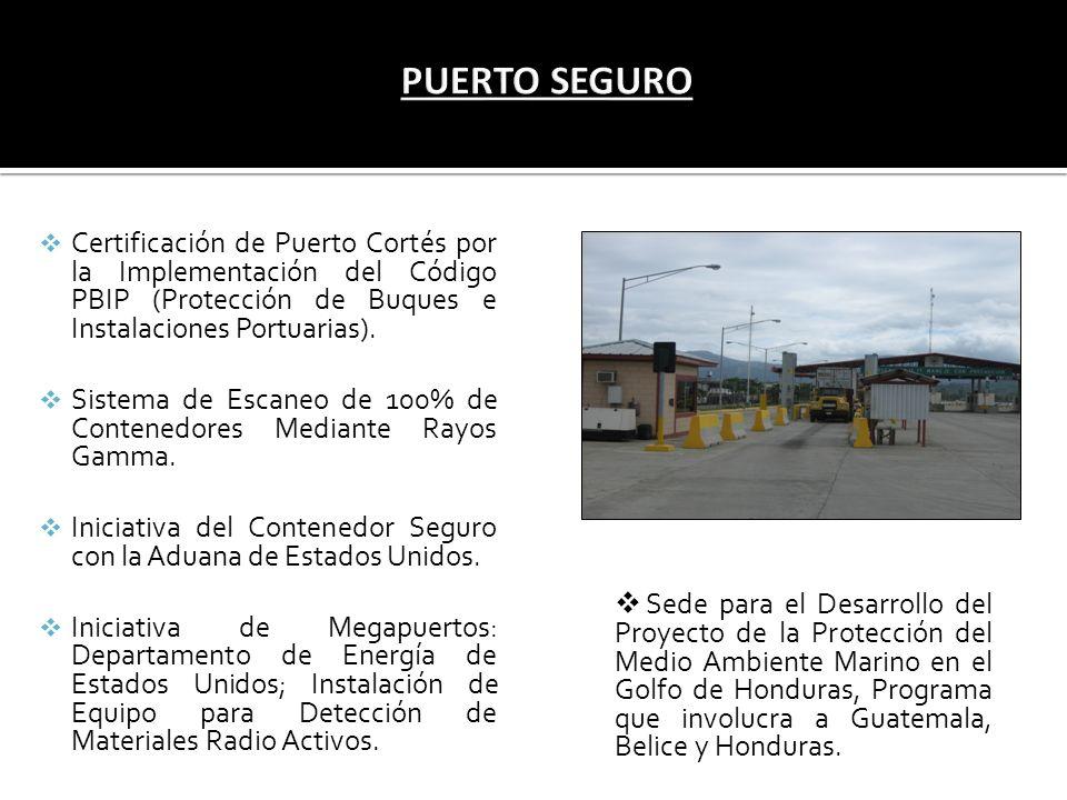 Certificación de Puerto Cortés por la Implementación del Código PBIP (Protección de Buques e Instalaciones Portuarias). Sistema de Escaneo de 100% de