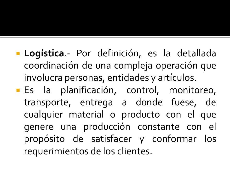 Logística.- Por definición, es la detallada coordinación de una compleja operación que involucra personas, entidades y artículos. Es la planificación,