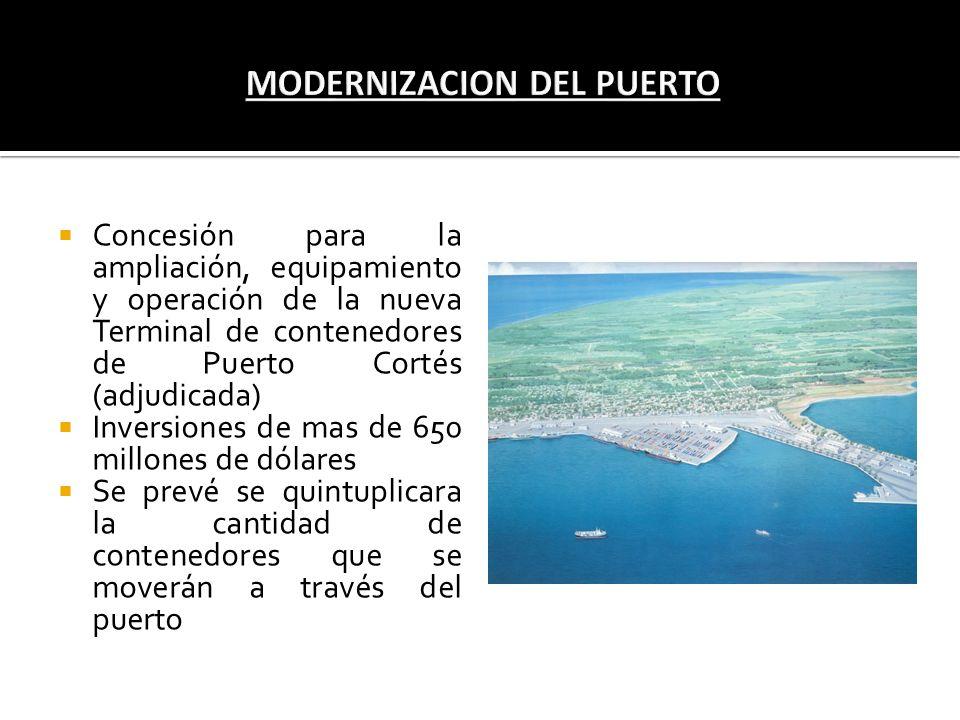 Concesión para la ampliación, equipamiento y operación de la nueva Terminal de contenedores de Puerto Cortés (adjudicada) Inversiones de mas de 650 mi