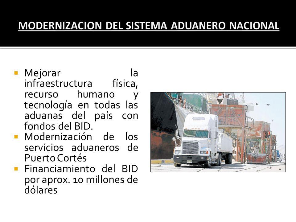 Mejorar la infraestructura física, recurso humano y tecnología en todas las aduanas del país con fondos del BID. Modernización de los servicios aduane