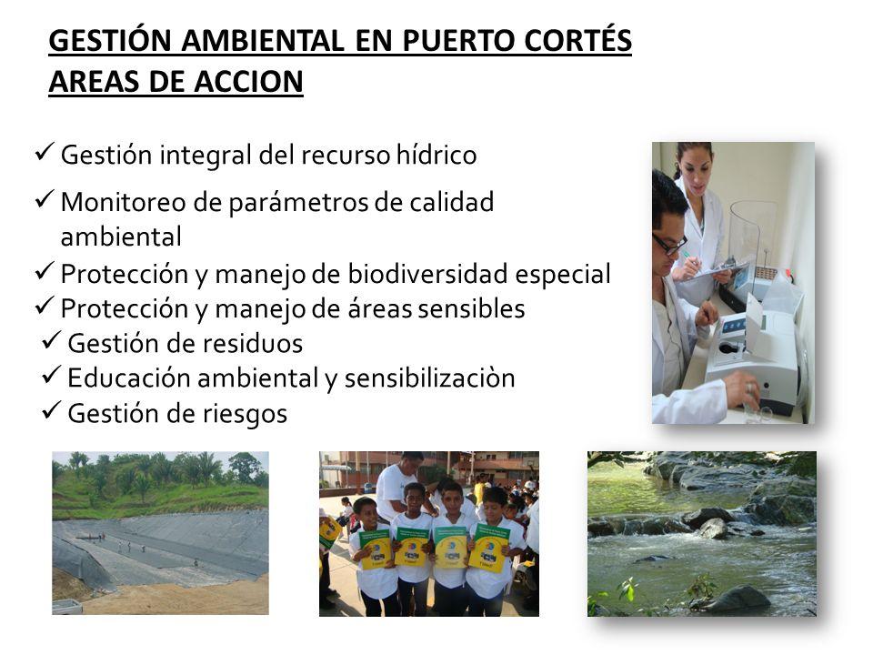Gestión integral del recurso hídrico GESTIÓN AMBIENTAL EN PUERTO CORTÉS AREAS DE ACCION Monitoreo de parámetros de calidad ambiental Protección y mane