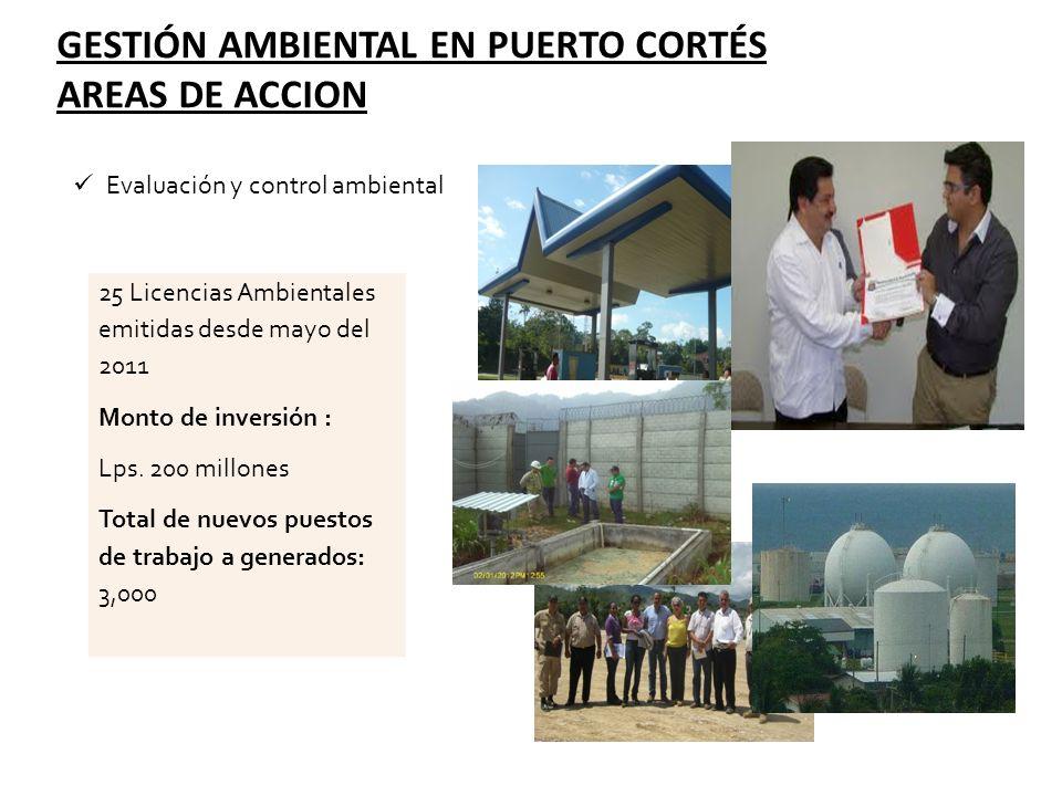 Evaluación y control ambiental GESTIÓN AMBIENTAL EN PUERTO CORTÉS AREAS DE ACCION 25 Licencias Ambientales emitidas desde mayo del 2011 Monto de inver