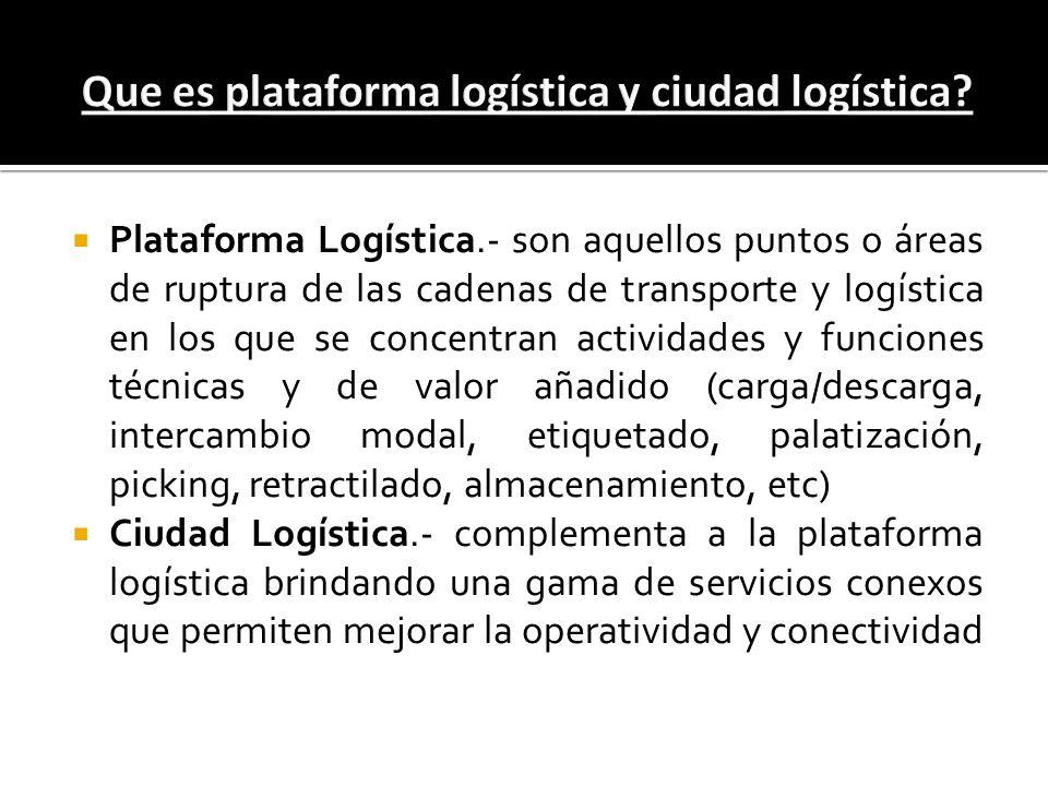 Plataforma Logística.- son aquellos puntos o áreas de ruptura de las cadenas de transporte y logística en los que se concentran actividades y funcione