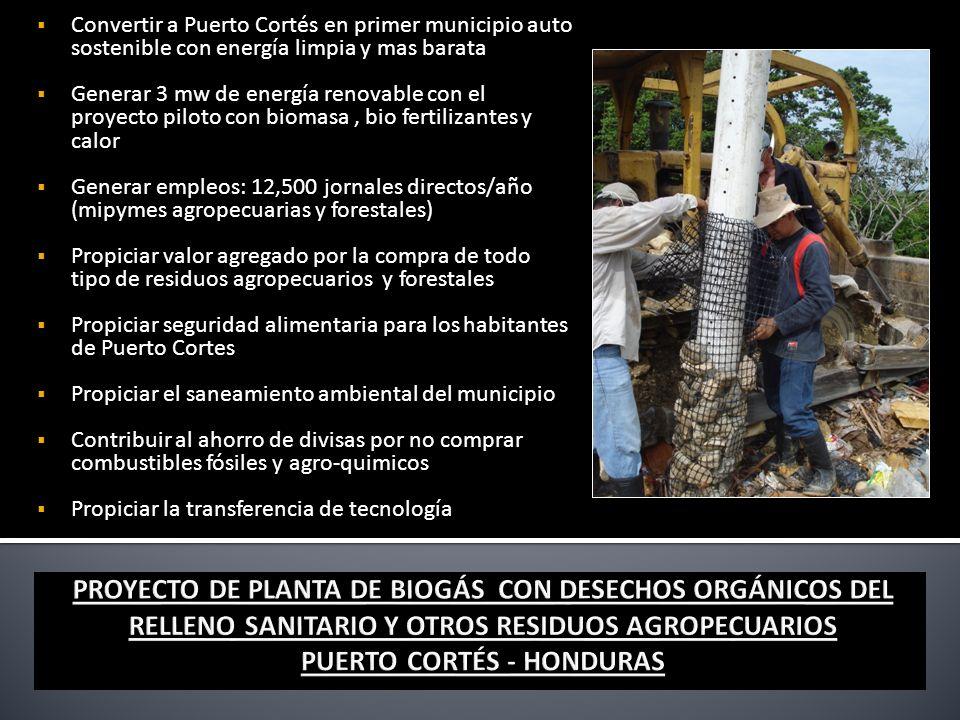 Convertir a Puerto Cortés en primer municipio auto sostenible con energía limpia y mas barata Generar 3 mw de energía renovable con el proyecto piloto