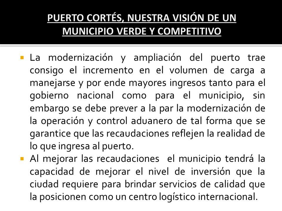 La modernización y ampliación del puerto trae consigo el incremento en el volumen de carga a manejarse y por ende mayores ingresos tanto para el gobie
