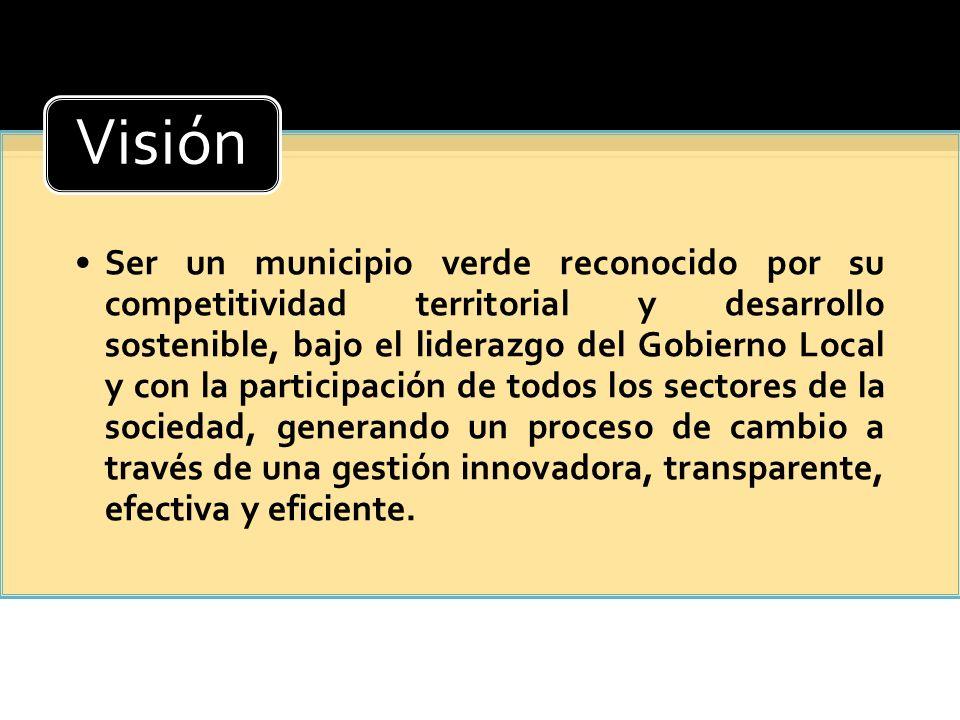 Ser un municipio verde reconocido por su competitividad territorial y desarrollo sostenible, bajo el liderazgo del Gobierno Local y con la participaci