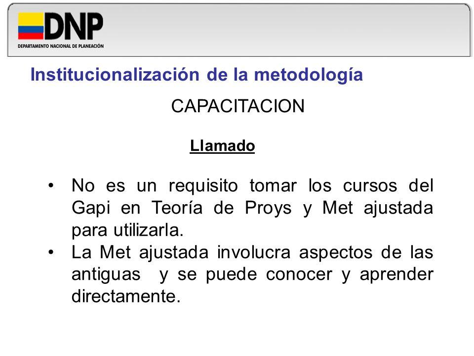 Llamado No es un requisito tomar los cursos del Gapi en Teoría de Proys y Met ajustada para utilizarla. La Met ajustada involucra aspectos de las anti