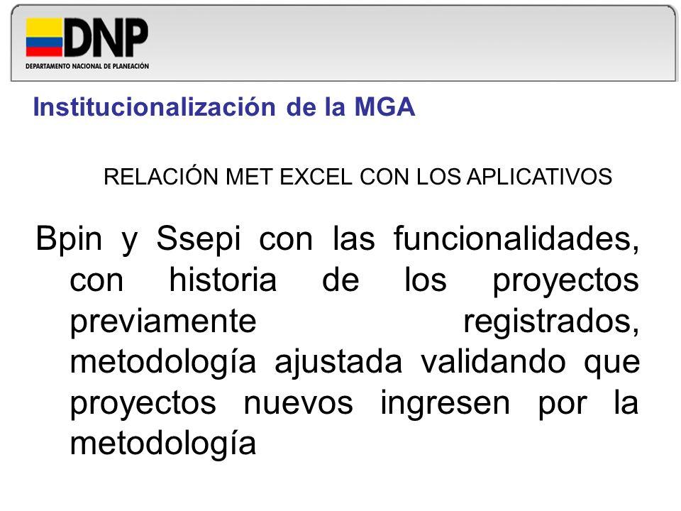 RELACIÓN MET EXCEL CON LOS APLICATIVOS Bpin y Ssepi con las funcionalidades, con historia de los proyectos previamente registrados, metodología ajusta