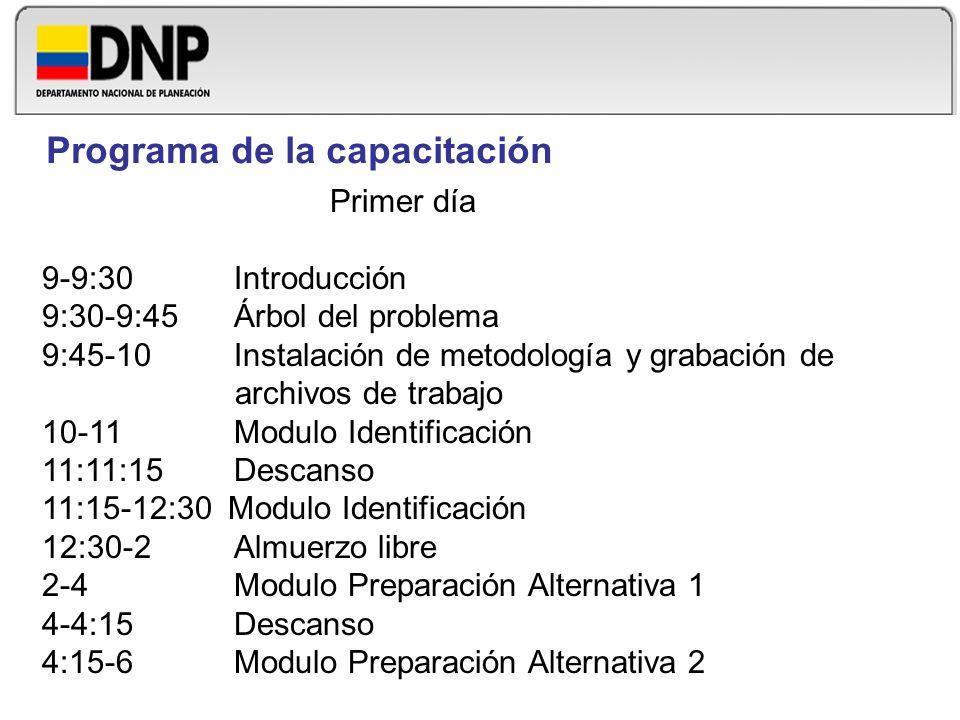 Primer día 9-9:30Introducción 9:30-9:45 Árbol del problema 9:45-10 Instalación de metodología y grabación de archivos de trabajo 10-11Modulo Identific