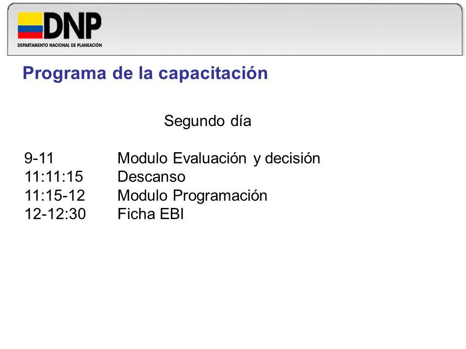 Segundo día 9-11Modulo Evaluación y decisión 11:11:15 Descanso 11:15-12Modulo Programación 12-12:30Ficha EBI Programa de la capacitación