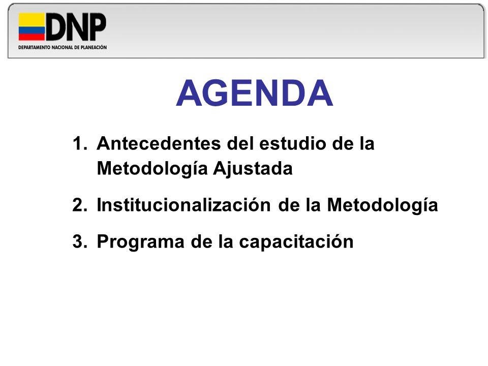AGENDA 1.Antecedentes del estudio de la Metodología Ajustada 2.Institucionalización de la Metodología 3.Programa de la capacitación