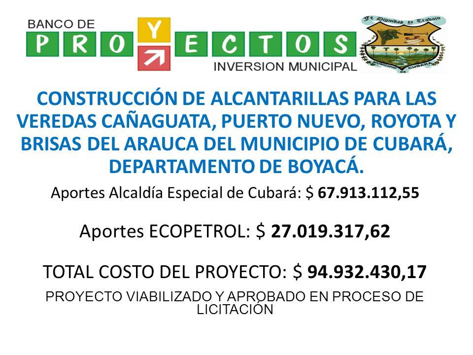 PROYECTOS DE OBRA CIVIL E INFRAESTRUCTURA ADECUACIÓN NUEVA PROPIEDAD ADYACENTE AL CENTRO ADMINISTRATIVO MUNICIPAL DEL MUNICIPIO DE CUBARÁ DEPARTAMENTO DE BOYACÁ CONSTRUCCIÓN ALCANTARILLA VEREDA EL CHUSCAL MUNICIPIO DE CUBARÁ DEPARTAMENTO DE BOYACÁ CONSTRUCCIÓN ALCANTARILLA BARRIO PABLO VI MUNICIPIO DE CUBARÁ DEPARTAMENTO DE BOYACÁ CONSTRUCCIÓN MURO CERRAMIENTO COLISEO CUBIERTO MUNICIPIO DE CUBARÁ DEPARTAMENTO DE BOYACÁ CONSTRUCCIÓN BOCATOMA ACUEDUCTO LOCAL MUNICIPIO DE CUBARÁ DEPARTAMENTO DE BOYACÁ PROTECCIÓN RÍO COBARÍA A LA ALTURA DE LAS VEREDAS BONGOTA Y PUERTO NUEVO MUNICIPIO DE CUBARÁ DEPARTAMENTO DE BOYACÁ PROTECCIÓN RIO BOJABÁ A LA ALTURA DE LA VEREDA BRISAS DEL ARAUCA MUNICIPIO DE CUBARÁ DEPARTAMENTO DE BOYACÁ