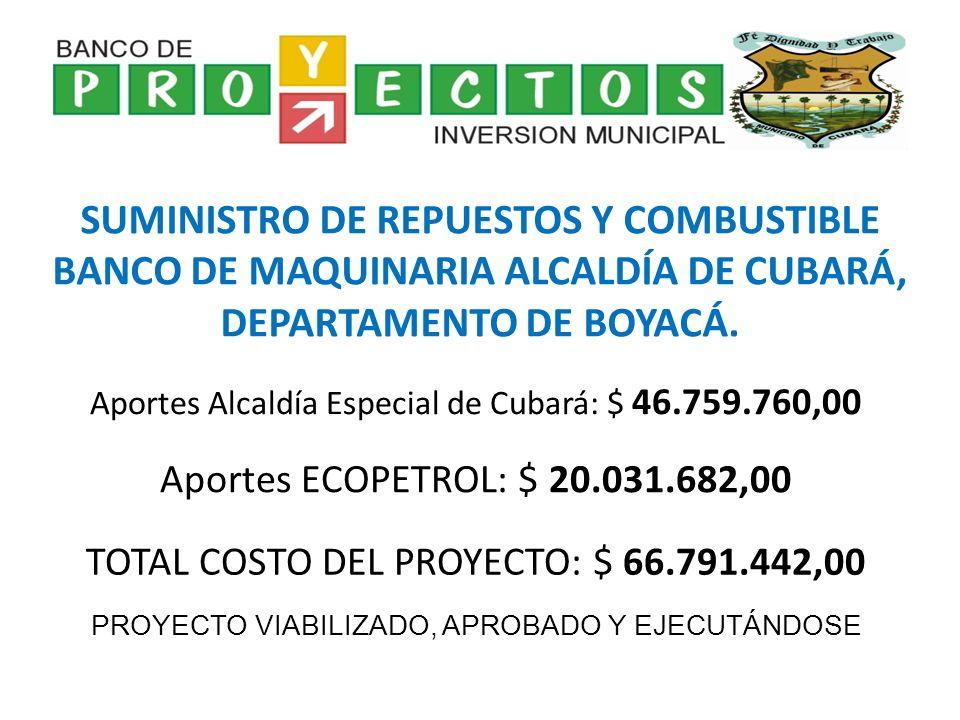PROYECTOS DE OBRA CIVIL E INFRAESTRUCTURA CONSTRUCCIÓN PLANTA DE TRATAMIENTO DE VINAZAS PARA EL MATADERO DEL MUNICIPIO DE CUBARÁ DEPARTAMENTO DE BOYACÁ REPARACIÓN CUBIERTA ESCUELA LA BARROSA DEL MUNICIPIO DE CUBARÁ DEPARTAMENTO DE BOYACÁ RETENCIONAMIENTO GUAYA PRINCIPAL PUENTE HAMACA VEREDA EL CHUSCAL DEL MUNICIPIO DE CUBARÁ DEPARTAMENTO DE BOYACÁ SUMINISTRO TUBERÍA DE 36 EN CONCRETO REFORZADO DEL MUNICIPIO DE CUBARÁ DEPARTAMENTO DE BOYACÁ TOTAL APORTADO ALCALDÍA MUNICIPAL: $ 205.244.639,00