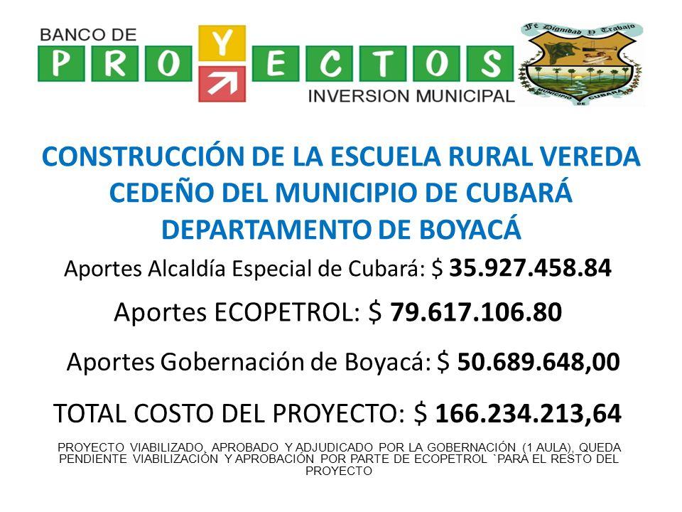 ESTUDIO, CANALIZACIÓN Y PROTECCIÓN DE LA MARGEN DERECHA DEL RÍO COBARÍA MUNICIPIO DE CUBARÁ DEPARTAMENTO DE BOYACÁ Aportes Alcaldía Especial de Cubará: $ 59.743.701,80 Aportes ECOPETROL: $ 200.000.000,00 TOTAL COSTO DEL PROYECTO: $ 359.743.701,80 PROYECTO QUE SOLO LE FALTA APROBACIÓN POR PARTE DE ECOPETROL Aportes Gobernación de Boyacá: $ 100.000.000,00
