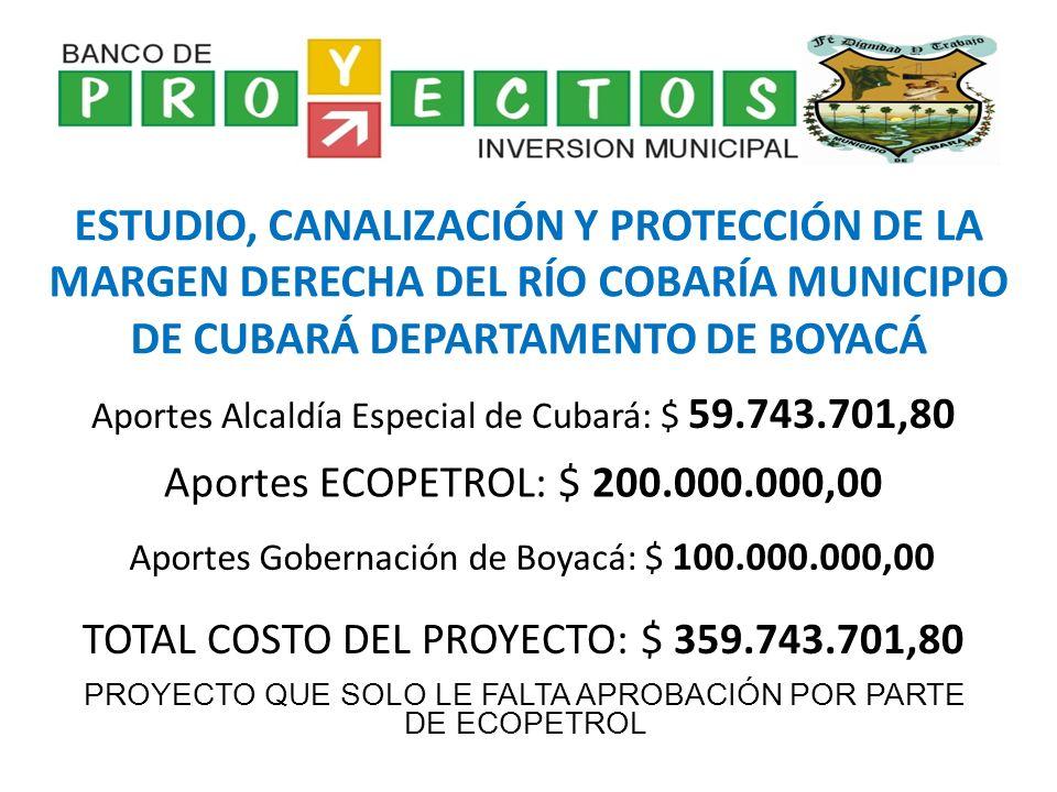 PROYECTOS INSTITUCIONALES APOYO DELEGACIÓN COLEGIO NACIONALIZADO PABLO VI A LA FASE FINAL DEPARTAMENTAL DE LOS XXXV JUEGOS INTERCOLEGIADOS IMPLEMENTACIÓN EJE PROGRAMÁTICO DE EMERGENCIAS Y DESASTRES DEL MUNICIPIO DE CUBARÁ DEPARTAMENTO DE BOYACÁ FORMULACIÓN DEL PROGRAMA DE USO EFICIENTE Y AHORRO DEL AGUA DEL MUNICIPIO DE CUBARÁ DEPARTAMENTO DE BOYACÁ TOTAL APORTADO ALCALDÍA MUNICIPAL: $ 118.620.695,00