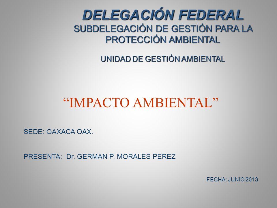 DELEGACIÓN FEDERAL SUBDELEGACIÓN DE GESTIÓN PARA LA PROTECCIÓN AMBIENTAL UNIDAD DE GESTIÓN AMBIENTAL IMPACTO AMBIENTAL SEDE: OAXACA OAX.