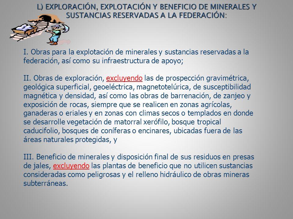 L) EXPLORACIÓN, EXPLOTACIÓN Y BENEFICIO DE MINERALES Y SUSTANCIAS RESERVADAS A LA FEDERACIÓN: I.