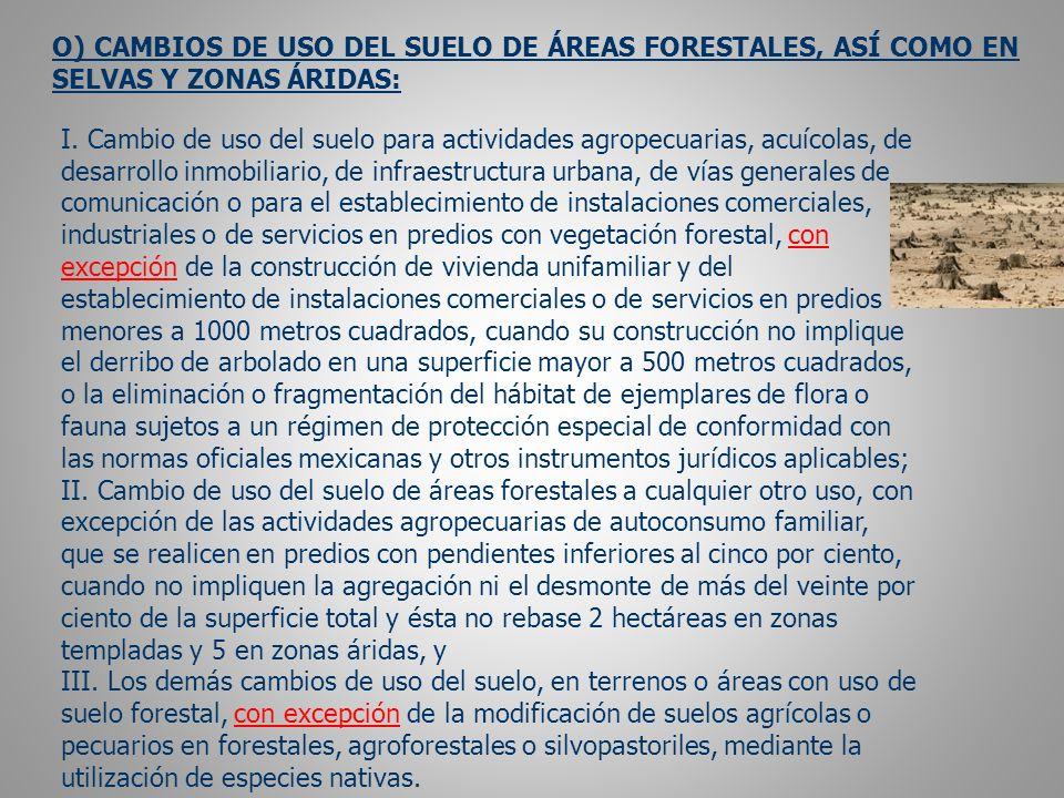 O) CAMBIOS DE USO DEL SUELO DE ÁREAS FORESTALES, ASÍ COMO EN SELVAS Y ZONAS ÁRIDAS: I.
