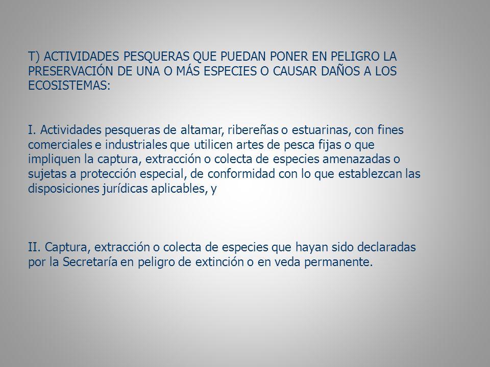 T) ACTIVIDADES PESQUERAS QUE PUEDAN PONER EN PELIGRO LA PRESERVACIÓN DE UNA O MÁS ESPECIES O CAUSAR DAÑOS A LOS ECOSISTEMAS: I.