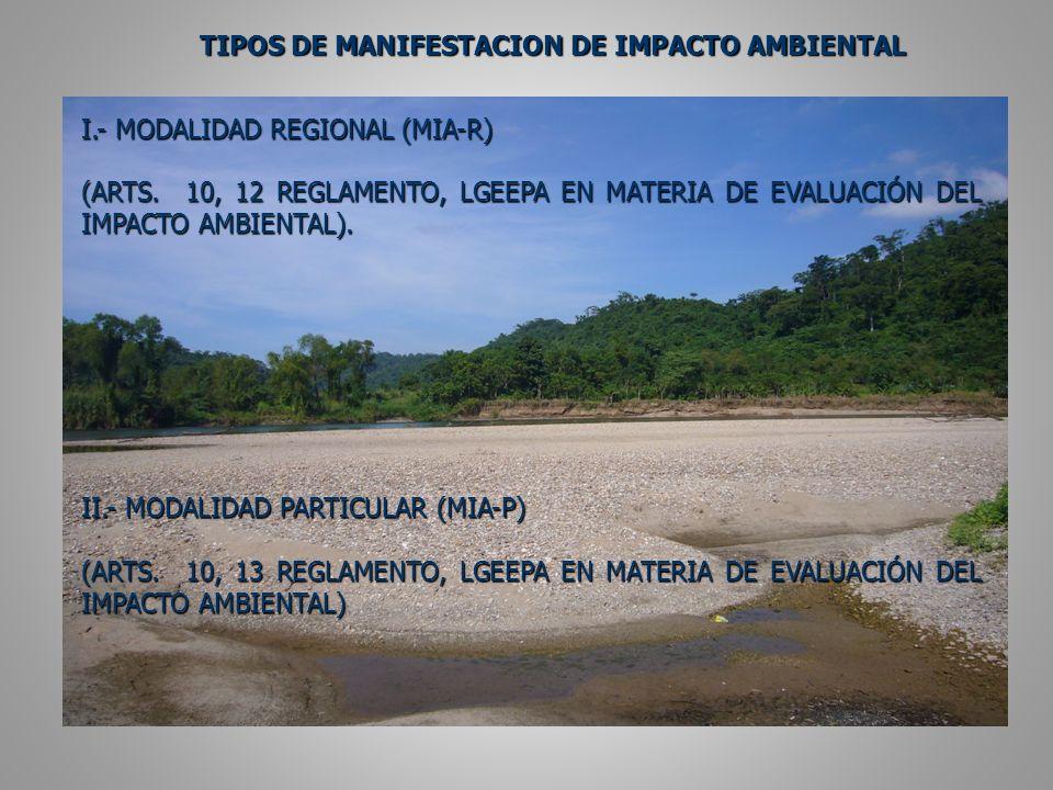 TIPOS DE MANIFESTACION DE IMPACTO AMBIENTAL I.- MODALIDAD REGIONAL (MIA-R) (ARTS.
