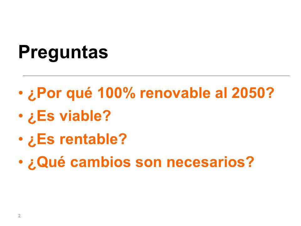 2 ¿Por qué 100% renovable al 2050 ¿Es viable ¿Es rentable ¿Qué cambios son necesarios Preguntas