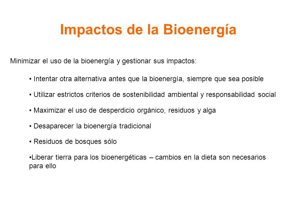 Impactos de la Bioenergía Minimizar el uso de la bioenergía y gestionar sus impactos: Intentar otra alternativa antes que la bioenergía, siempre que sea posible Utilizar estrictos criterios de sostenibilidad ambiental y responsabilidad social Maximizar el uso de desperdicio orgánico, residuos y alga Desaparecer la bioenergía tradicional Residuos de bosques sólo Liberar tierra para los bioenergéticas – cambios en la dieta son necesarios para ello