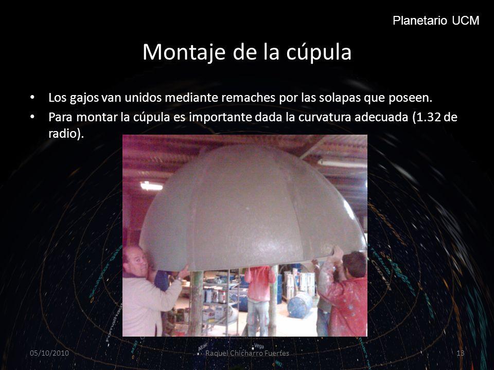 Montaje de la cúpula Los gajos van unidos mediante remaches por las solapas que poseen.