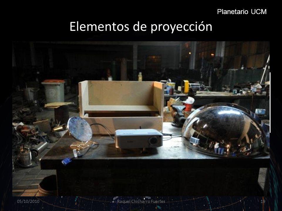 Elementos de proyección 05/10/2010Raquel Chicharro Fuertes19 Planetario UCM Proyector: un proyector para planetario debe tener unos parámetros mínimos de luminosidad, contraste y resolución.