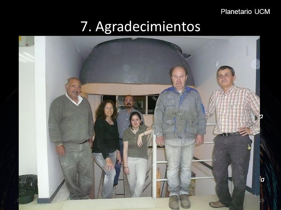 7.Agradecimientos Al Dpto. de Astrofísica y CC.