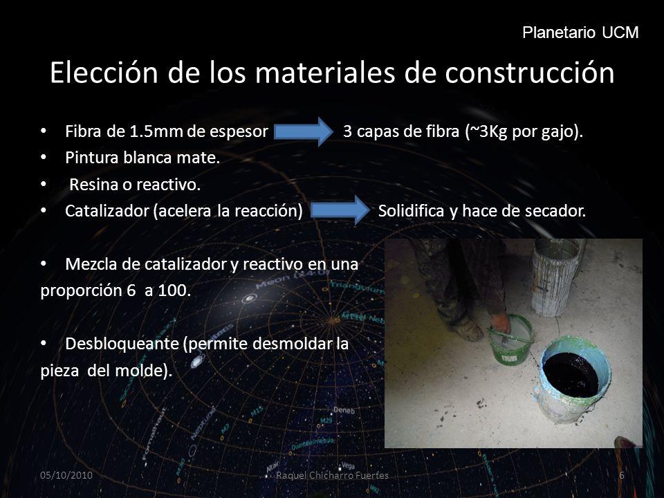 Elección de los materiales de construcción Fibra de 1.5mm de espesor 3 capas de fibra (~3Kg por gajo).
