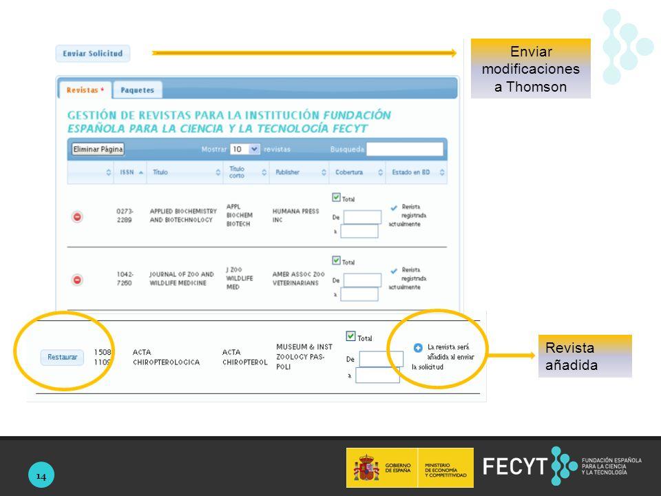 14 Revista añadida Enviar modificaciones a Thomson