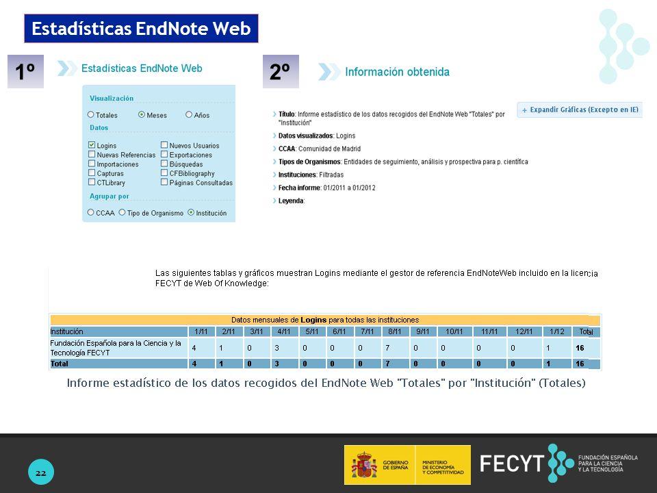 22 Estadísticas EndNote Web 1º2º