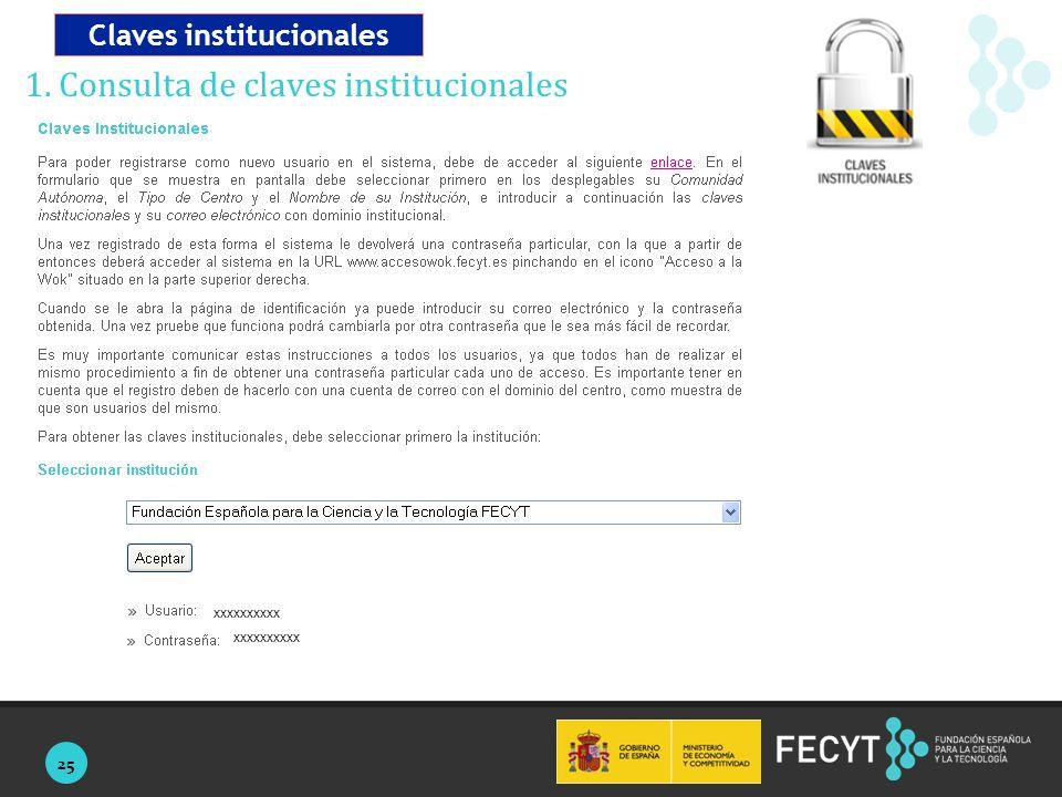 25 1. Consulta de claves institucionales Claves institucionales xxxxxxxxxx