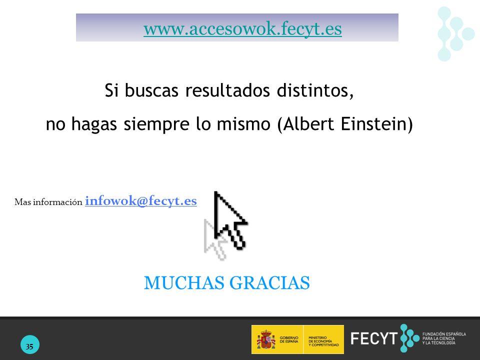 35 Si buscas resultados distintos, no hagas siempre lo mismo (Albert Einstein) Mas información infowok@fecyt.es MUCHAS GRACIAS www.accesowok.fecyt.es