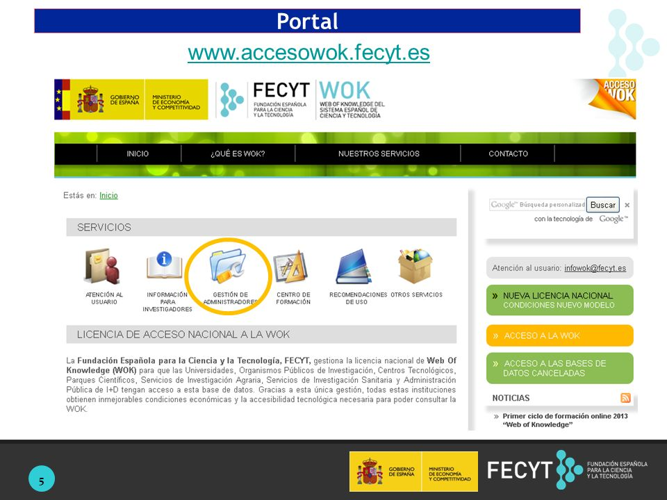 5 Portal www.accesowok.fecyt.es
