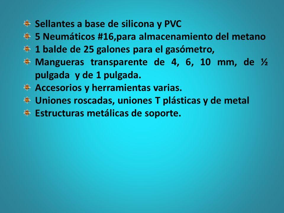 Sellantes a base de silicona y PVC 5 Neumáticos #16,para almacenamiento del metano 1 balde de 25 galones para el gasómetro, Mangueras transparente de